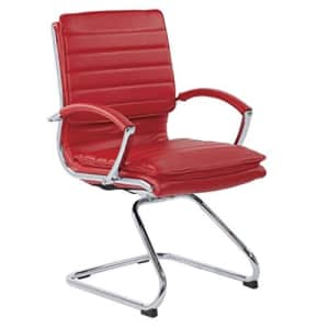 Office Star Faux Leather Guest Chair with Loop Arms and Chrome Sled Base, Red for $489