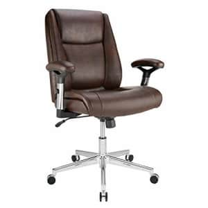 Realspace Densey Bonded Leather Mid-Back Manager's Chair, Brown/Black/Silver for $140