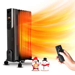 Air Choice Electric Radiator Heater - 1500W Oil Space Heater with Remote, Allergy-Friendly, No Noise, for $50