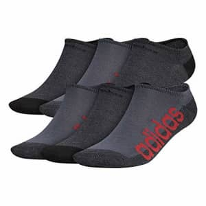adidas mens Superlite Linear No Show Socks (6-Pair) Onix Grey/Black/Scarlet Red, Large for $20