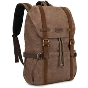 Kattee Canvas Leather Backpack for $25