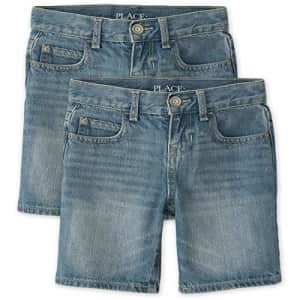 The Children's Place Boys Denim Shorts 2-Pack, Carter WASH, 12 for $31