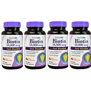 Natrol Biotin 10,000mcg Fast Dissolve, 60 Count (Pack of 4) for $47