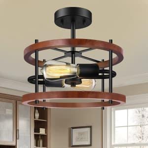 Wihtu 2-Light Semi Flush Mount Ceiling Light Fixture for $25