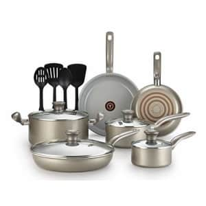 T-fal G919SE64 Initiatives Ceramic Nonstick Dishwasher Safe Toxic Free 14-Piece Cookware Set, Gold for $103