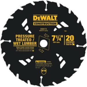 """DEWALT 7-1/4"""" Circular Saw Blade for Pressure Treated and Wet Lumber, ATB, Thin Kerf, 5/8"""" and for $14"""