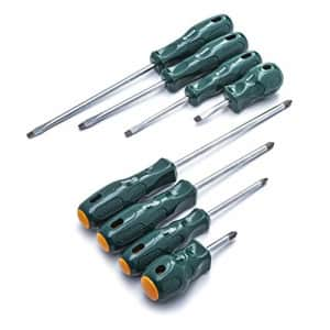 SATA 8-Piece Slotted and Phillips Screwdriver Set with Ergonomic Green Handles and a Durable for $30