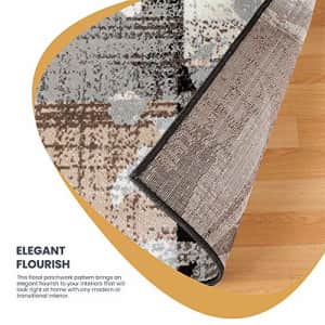SUPERIOR Pastiche Contemporary Floral Patchwork Polypropylene Indoor Area Rug or Runner with Jute for $46