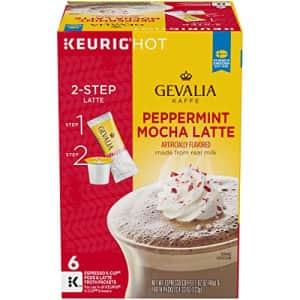 Gevalia Peppermint Mocha Latte Espresso K-Cup Coffee Pods & Froth Packet (6 Pods and Froth Packets) for $10