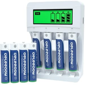 Deleepow 1,100mAh Battery Charger with 8 AAA Batteries for $12