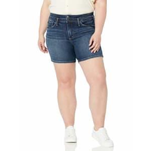 Silver Jeans Co. Women's Plus Size Suki Mid Rise Shorts, Cuffed Dark Indigo, 24W for $105