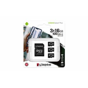 Kingston 16GB microSDHC Canvas Select Plus 100MB/s Read A1 Class 10 UHS-I 3-Pack Memory Card + for $4