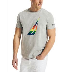 Nautica Men's Pride Graphic T-Shirt, Grey Heather, Large for $16