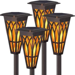 Xmcosy Solar Torch Pathway Light 4-Pack for $60