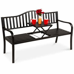 Best Choice Products Double Seat Steel Bench for Patio, Garden, Outdoor, Backyard w/Pullout Middle for $170