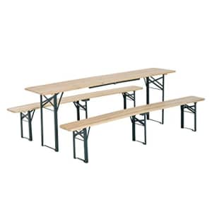 Outsunny 7' Wooden Outdoor Folding Patio Camping Picnic Table Set with Bench for $190