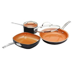 Gotham Steel Nonstick 5 Piece Essential Cookware Set with 9.5 Square, 2 qt. Pot and 11 Fry Pan with for $43