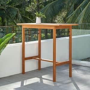 VIFAH Gloucester Contemporary Patio Bar Table, Golden Oak Wood Color for $160