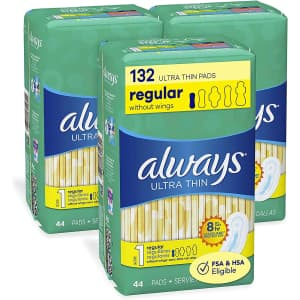 Always Ultra Thin Size 1 Regular Pads 44 Count 3-Pack for $9.48 via Sub & Save