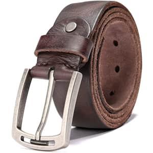 Keecow Men's 100% Italian Cow Leather Belt for $14