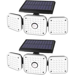 Efiealls Solar LED Flood Light 2-Pack for $26