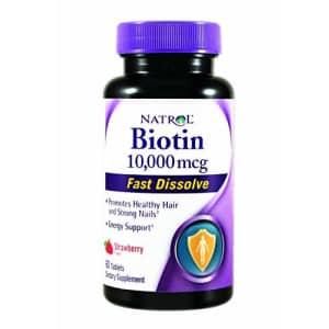 Natrol Biotin Fast Dissolve Tablets, 10, 000 mcg, 60 Tab. Pack of 2 for $24