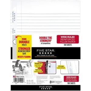 Five Star Wide Ruled Loose Leaf Paper 100-Sheet Pack for $3