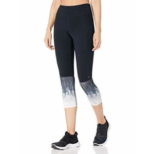 SHAPE activewear Women's Capri, Black/Feathers Print, M for $55