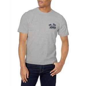 IZOD Men's Saltwater Short Sleeve Graphic T-Shirt, Light Grey Heather Van, Small for $14