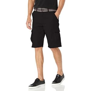 Beverly Hills Polo Club Men's Basic Cargo Shorts Belted, Tuscan Black 6552, 30 for $20