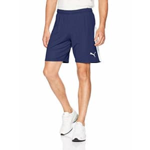 PUMA Men's Liga Shorts, Peacoat White, S for $36