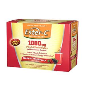 American Health Ester-C Effervescent Powder Packets, Natural Raspberry - 24-Hour Immune Support, for $17