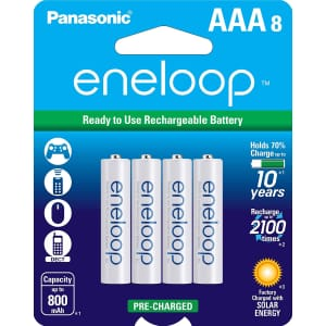 Panasonic eneloop NiMH Rechargeable AAA-Battery 8-Pack for $16