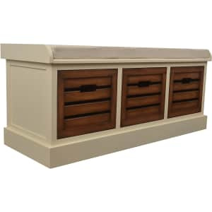"""Decor Therapy Melody 45"""" 3-Drawer Storage Bench w/ Cushion for $155"""