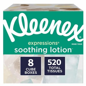 Kleenex Expressions Soothing Lotion Facial Tissues 8-Pack for $11