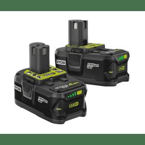 Ryobi 18V ONE+ Li-Ion 4.0Ah Battery 2-Pack for $79