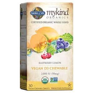 Garden of Life Organic Vitamin D - mykind Organics Vegan D3 Chewable - Raspberry Lemon, 2,000 IU for $15