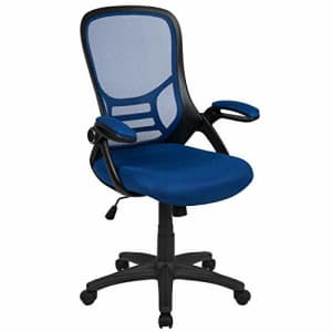 Flash Furniture High Back Blue Mesh Ergonomic Swivel Office Chair with Black Frame and Flip-up Arms for $128