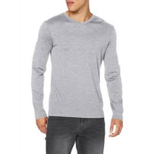 A|X Armani Exchange Men's V-Neck Pima Long Sleeve Shirt, HTR Heather Grey, S for $26