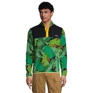 Lands' End Men's Print Heritage Fleece Snap Neck Pullover Top for $8
