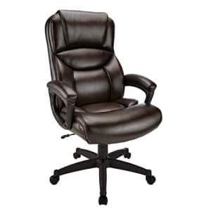 Realspace Fennington Bonded Leather High-Back Chair, Brown/Black for $130
