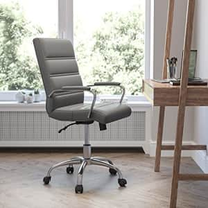 Flash Furniture Mid-Back Desk Chair - Gray LeatherSoft Executive Swivel Office Chair with Chrome for $200