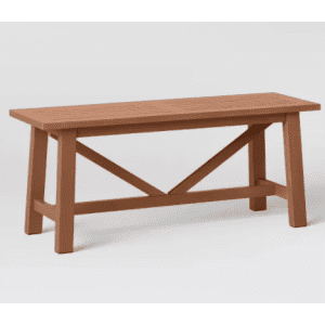 Threshold Morie Wood Patio Farmhouse Dining Bench for $96
