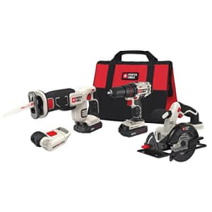 Porter-Cable PCCK616L4 20V cordless combo kit w/ drill/driver, circular saw, reciprocating saw & light for $170