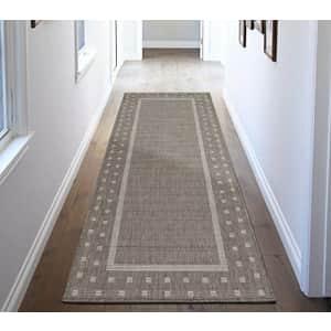 "Ottomanson Jardin Indoor/Outdoor Bordered Runner Rug, Gray, 2'7""X7', 2'7"" x 7', Grey for $22"