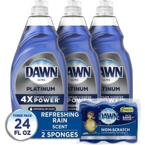 Dawn Platinum 24-oz. Dishwashing Liquid 3-Pack w/ 2 Sponges: 9.11 via Sub. & Save