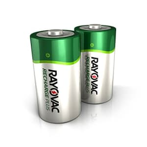 Rayovac Rechargeable D Batteries, High Capacity Rechargeable Plus D Battery (2 Count) for $30