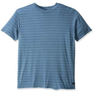 RVCA Men's Saturation Stripe Short Sleeve Crew Neck Shirt, China Blue, S for $35