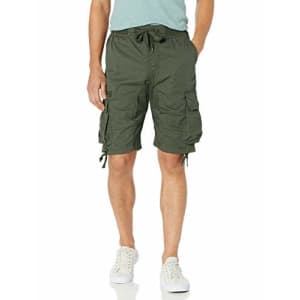Southpole Men's Jogger Shorts with Cargo Pockets in Solid and Camo Colors, Olive(New), Medium for $23