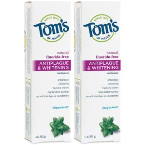 Tom's of Maine Antiplaque & Whitening Toothpaste 5.5-oz. Tube 2-Pack for $7.56 via Sub & Save